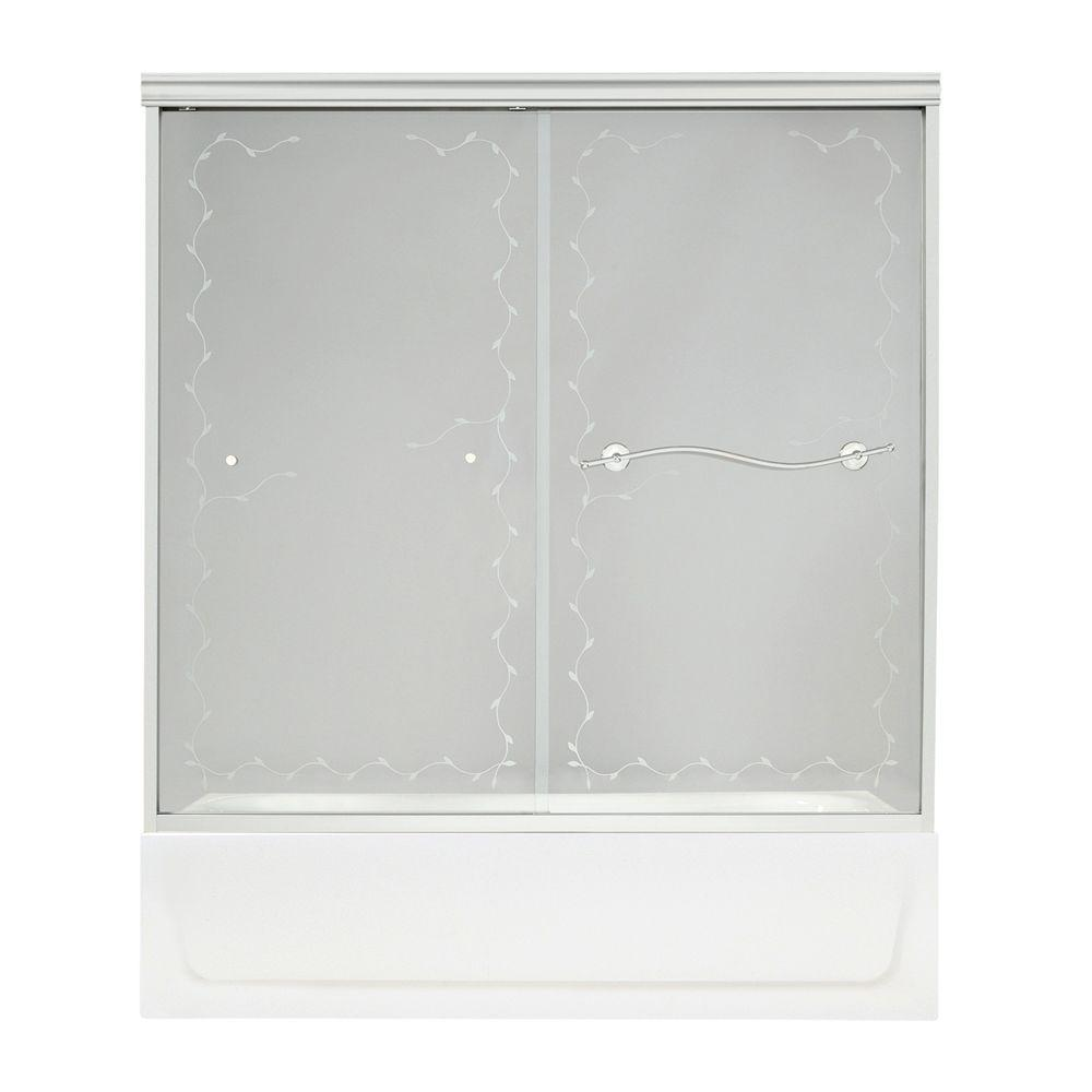 MAAX Vine 57 in. x 59-1/2 in. Frameless Bypass Tub Door in Chrome with Frosted Vine Glass-DISCONTINUED