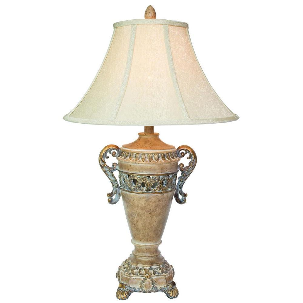 OK LIGHTING 28.5 in. Antique Brass Table Lamp