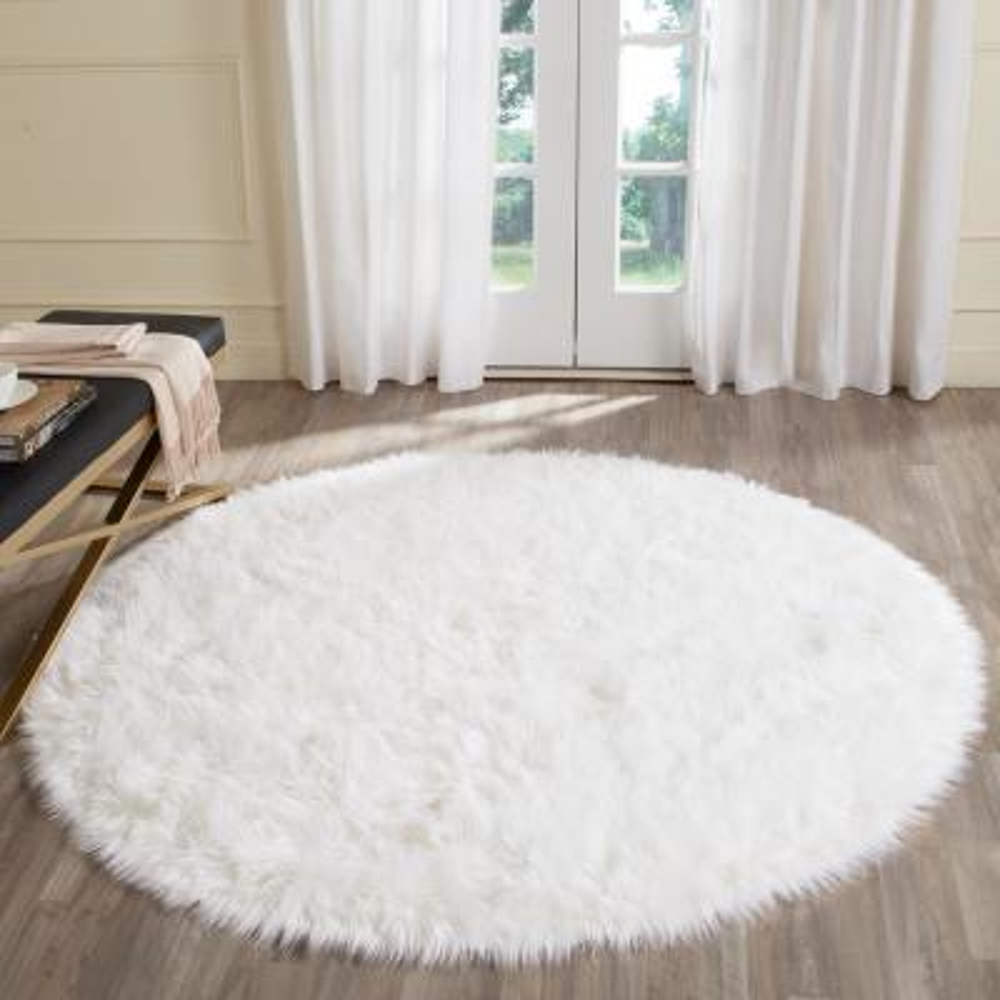 Faux Sheepskin Ivory 6 ft. x 6 ft. Round Area Rug