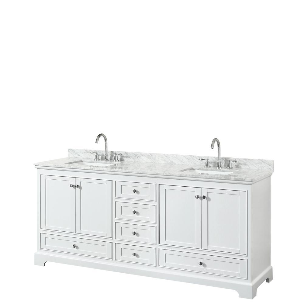 Deborah 79.75 in. W x 22 in. D Vanity in White with Marble Vanity Top in Carrara White with White Basins