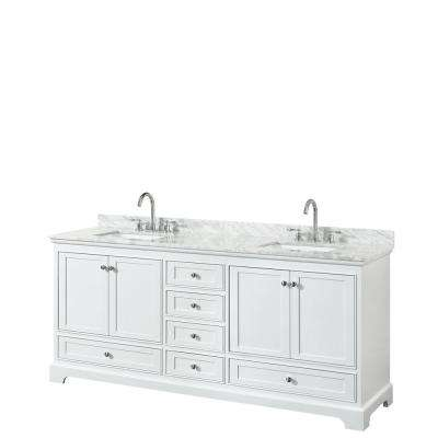 Deborah 79.75 in. W x 22 in. D Vanity in White with Marble Vanity Top in Carrara White with White Basins