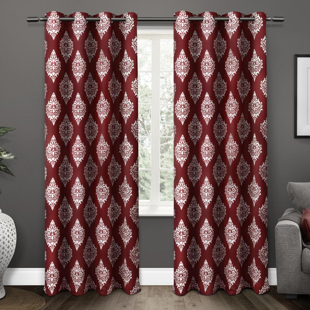 Medallion 52 in. W x 96 in. L Woven Blackout Grommet Top Curtain Panel in Burgundy (2 Panels)