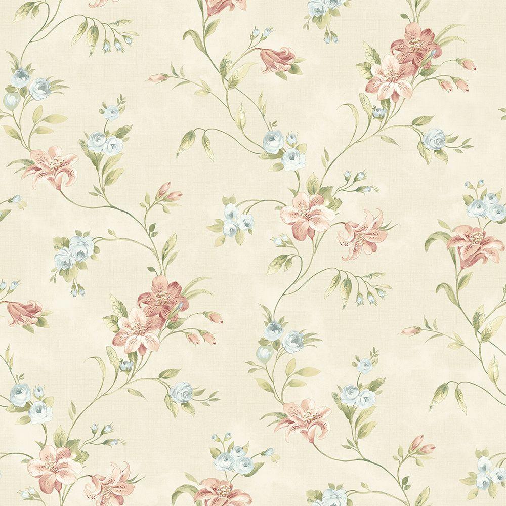 Chesapeake Lorraine Lily Peach Floral Wallpaper Ccb02131 The