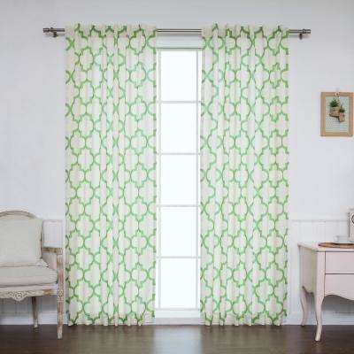 84 in. L Green Faux Linen Reverse Moroccan Curtain (2-Pack)