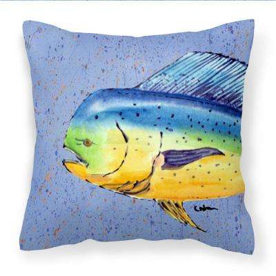 14 in. x 14 in. Multi-Color Lumbar Outdoor Throw Pillow Dolphin Mahi Mahi Decorative Canvas Fabric Pillow