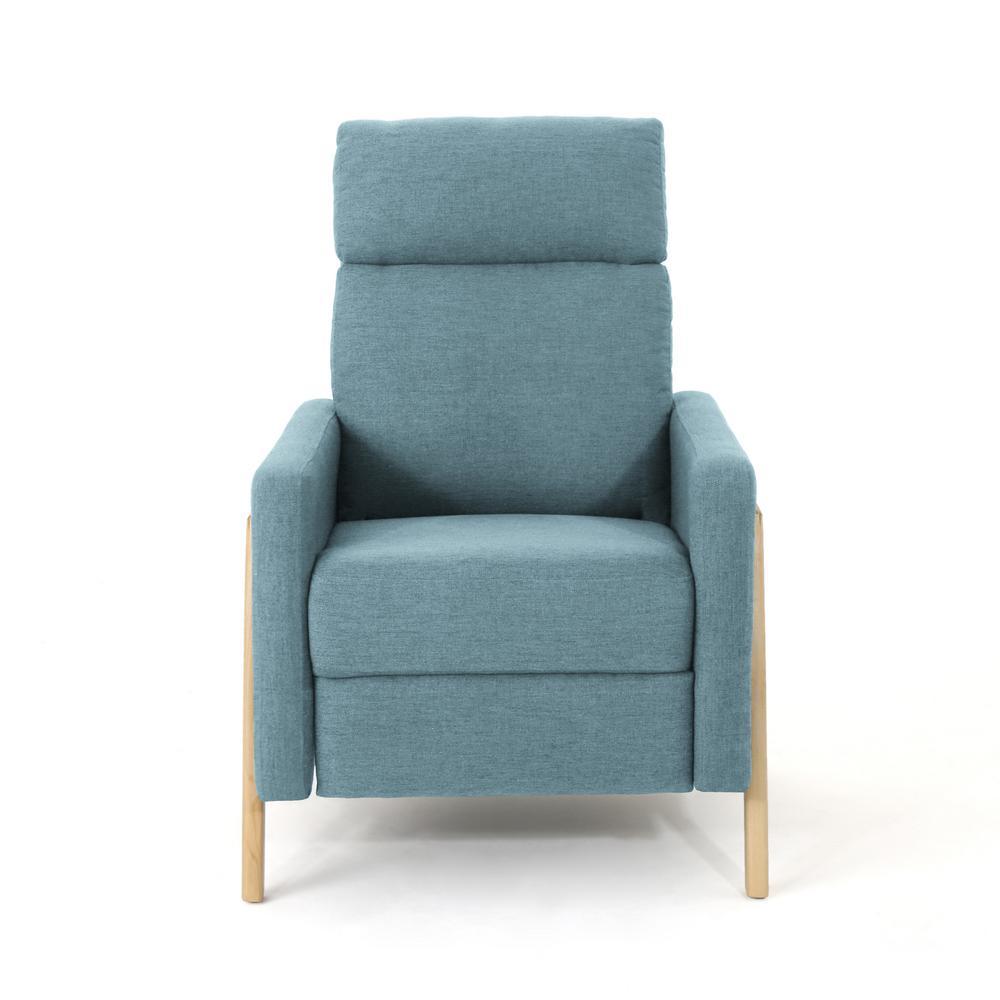 Noble House Hadrian Mid-Century Modern Blue Fabric Push Back Recliner 304573