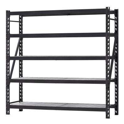 90 in. H x 90 in. W x 24 in. D 5 Shelf Welded Steel Shelving Unit with Wire Deck in Black