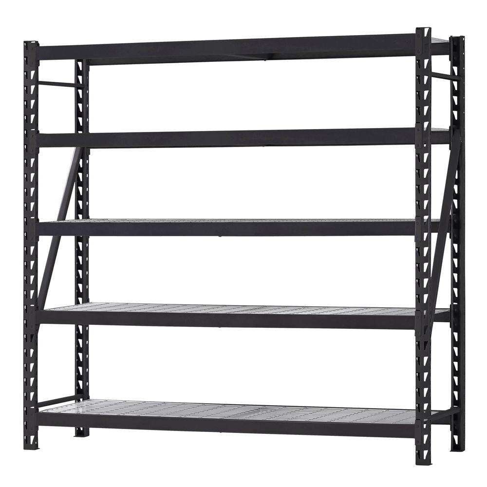 Husky 90 in. H x 90 in. W x 24 in. D 5 Shelf Welded Steel Shelving ...