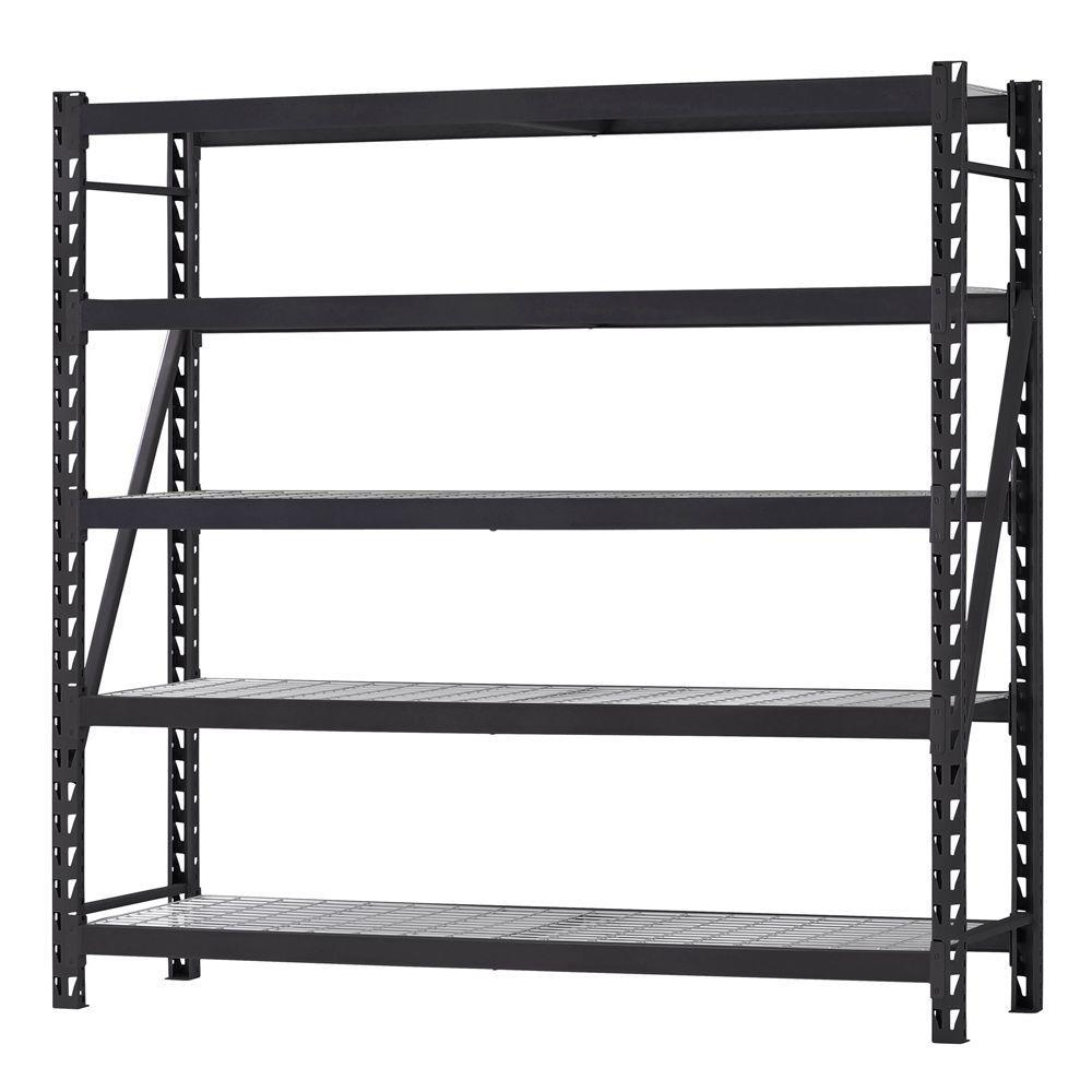 90 in. H x 90 in. W x 24 in. D 5 Shelf Welded Steel Shelving Unit with Wire Deck in Black