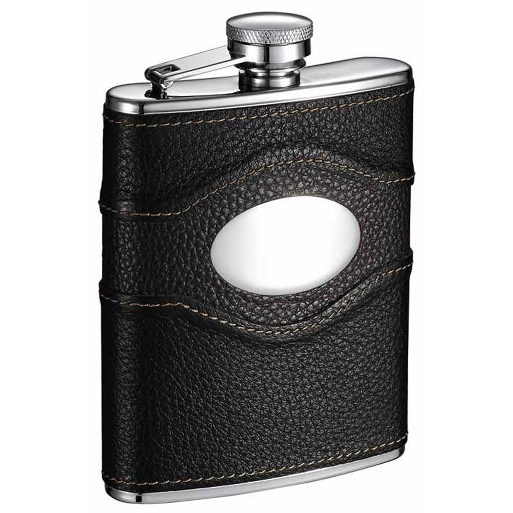 Sojourn Black Leather Liquor Flask