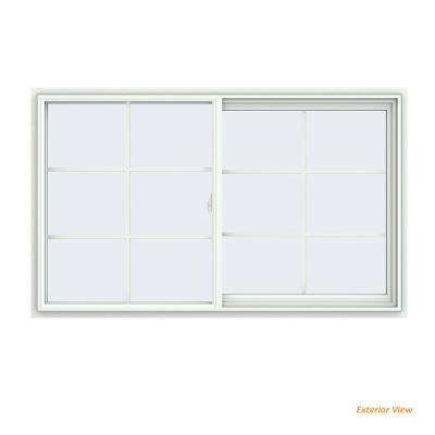 59.5 in. x 35.5 in. V-2500 Series White Vinyl Right-Handed Sliding Window with Colonial Grids/Grilles