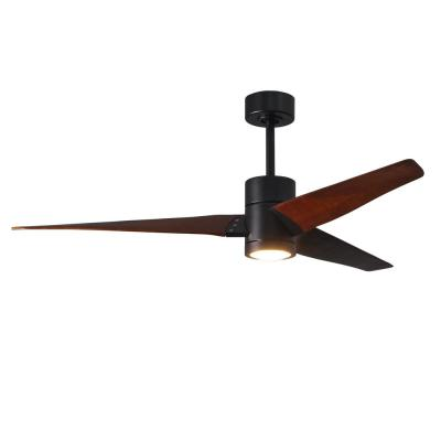 Super Janet 60 in. LED Indoor/Outdoor Damp Matte Black Ceiling Fan with Remote Control and Wall Control