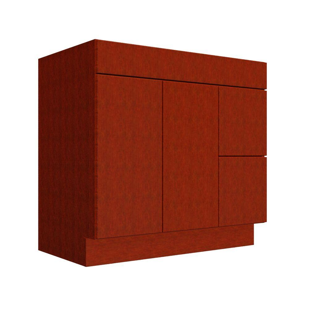 Delridge 36 in. Vanity Cabinet Only in Light Mahogany