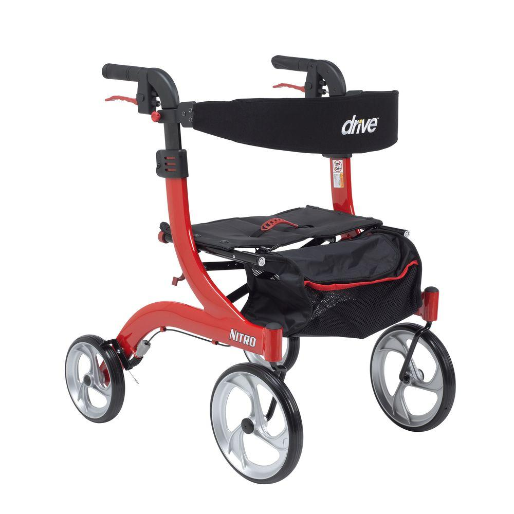 Drive Nitro Euro Style Walker Rollator - Hemi Height in Red