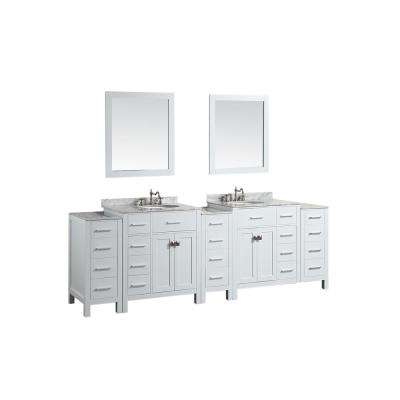Bosconi 100 in. W Double Bath Vanity in White with White Carrara Marble Vanity Top in White with White Basin and Mirror