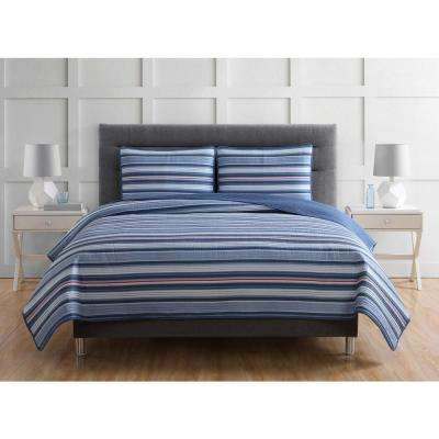 Everyday Nautical Stripe 3-Piece Blue and Grey and Red Full and Queen Quilt with 2 Shams