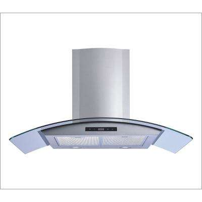 36 in. Convertible Kitchen Wall Mount Range Hood in Stainless Steel and Glass with Aluminum Filters and Touch Controls