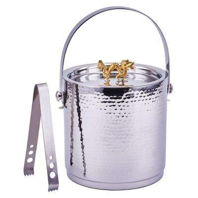 Dragon Handle Hammered Ice Bucket Stainless Steel with Lid and Ice Tong