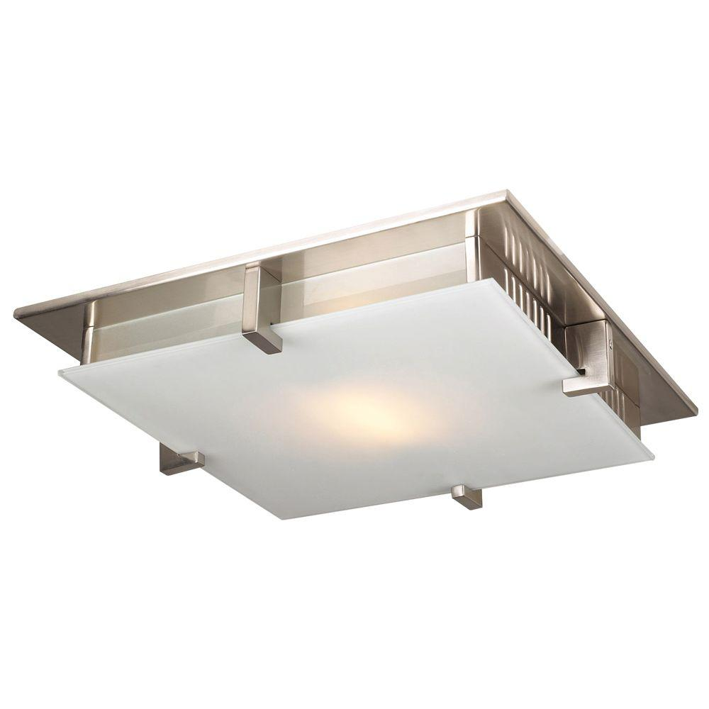 PLC Lighting 1-Light Ceiling Light Satin Nickel Acid Frost Glass Flush Mount