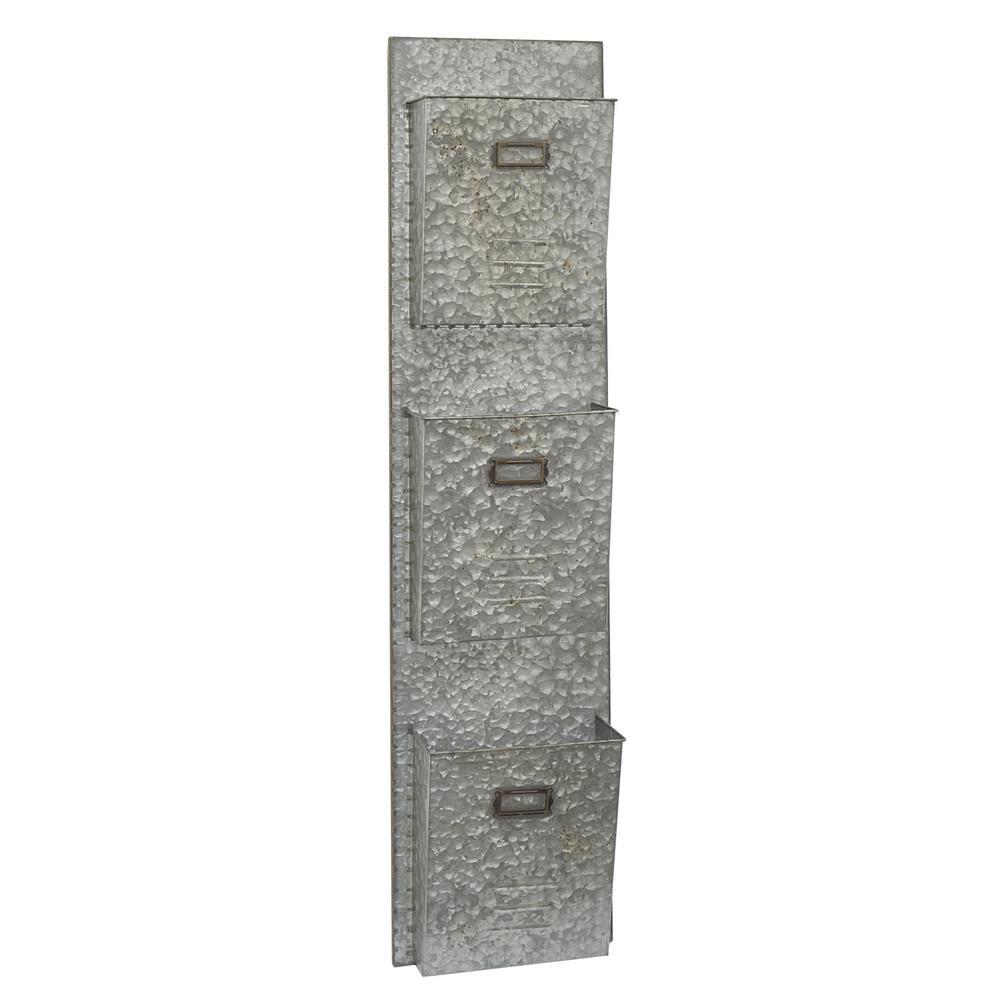 THREE HANDS Galvanized Metal Wall Shelf-43035
