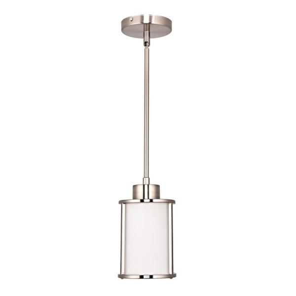 Home Decorators Collection 1 Light Brushed Nickel Mini Pendant With White Glass Shade 7429p 71 The Home Depot