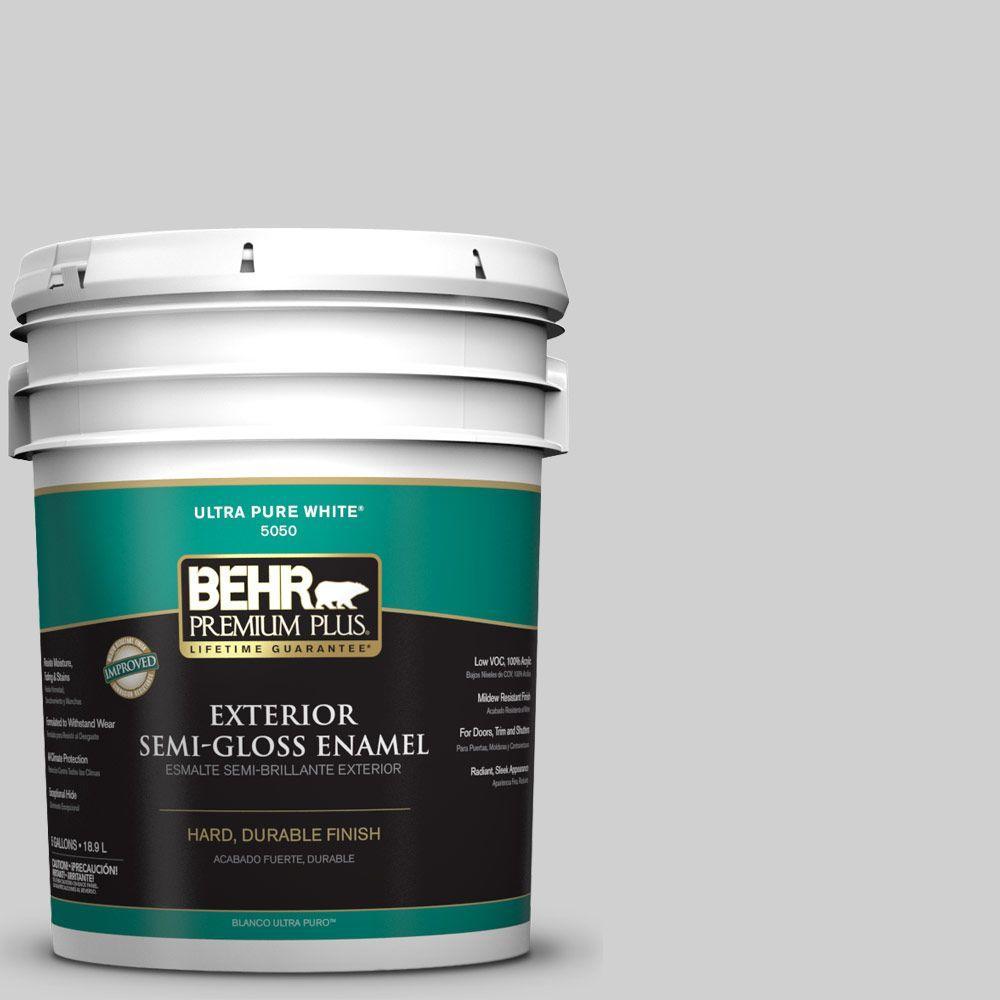 BEHR Premium Plus 5-gal. #N520-1 White Metal Semi-Gloss Enamel Exterior Paint