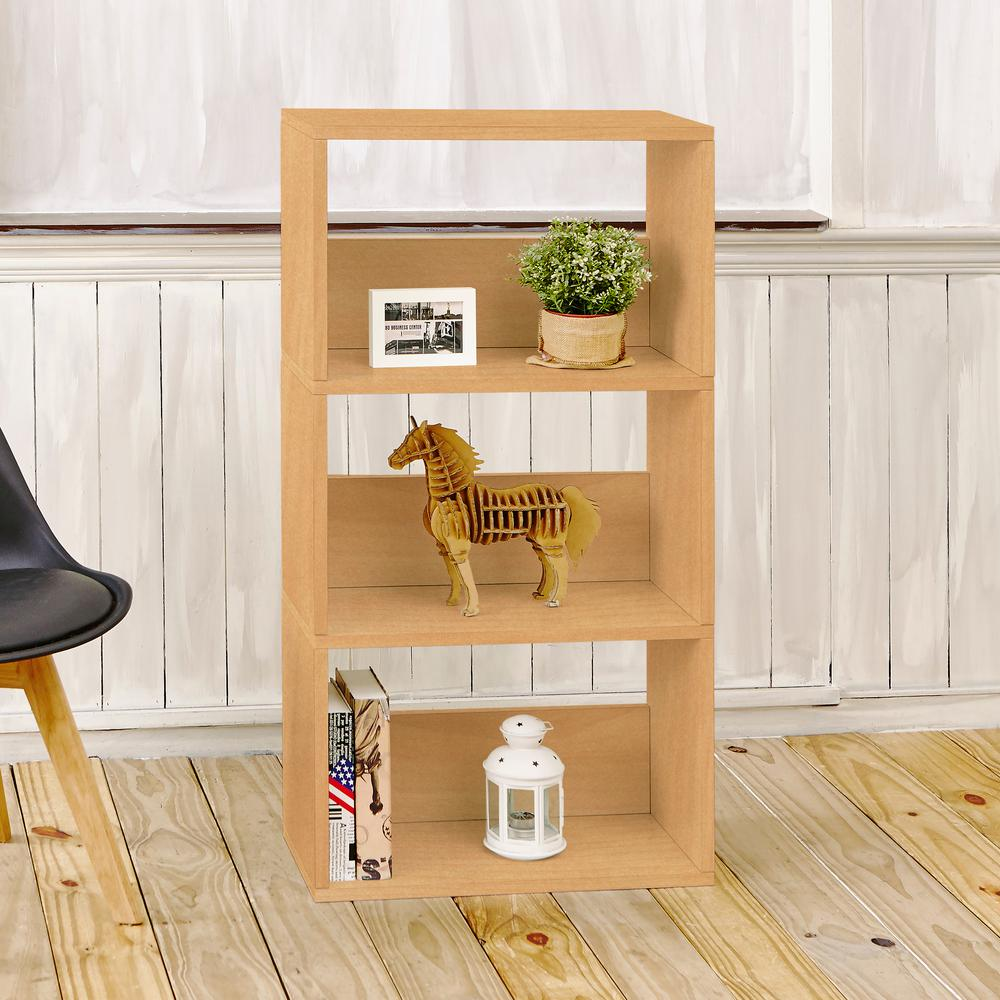 Way Basics Triplet Eco zBoard Tool Free Assembly Natural Open Bookcase