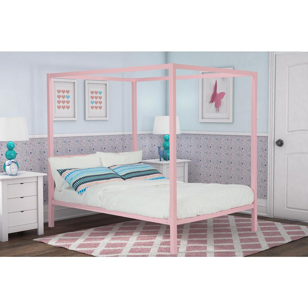 Modern Metal Pink Full Canopy Bed