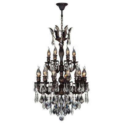 Versailles Collection 18-Light Flemish Brass and Clear Crystal Chandelier