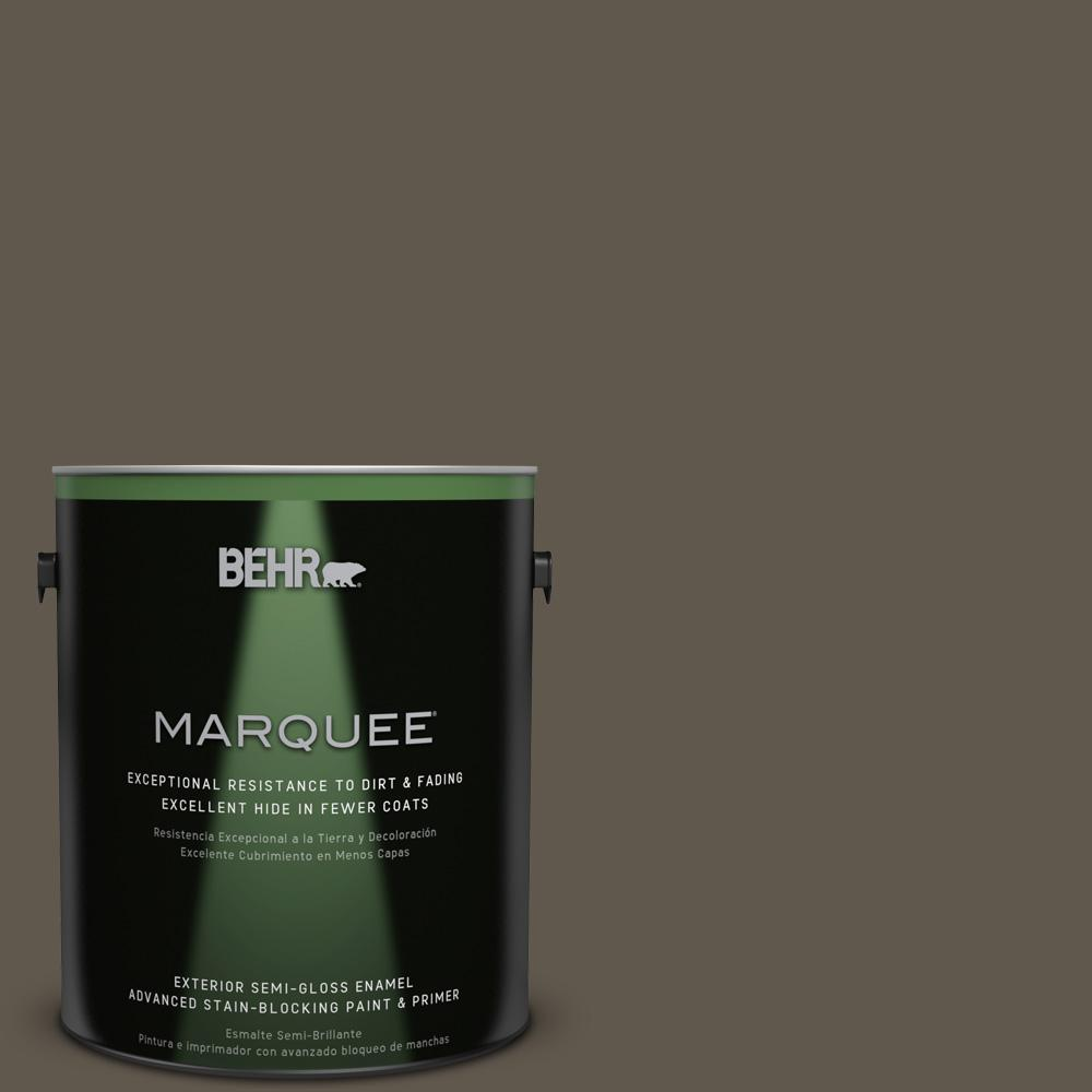 BEHR MARQUEE 1-gal. #720D-7 Winter Oak Semi-Gloss Enamel Exterior Paint