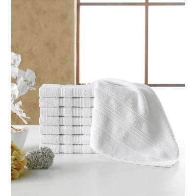 Solomon Collection 13 in. W x 13 in. H 100% Turkish Cotton Bordered Design Luxury Washcloth in White (Set of 16)