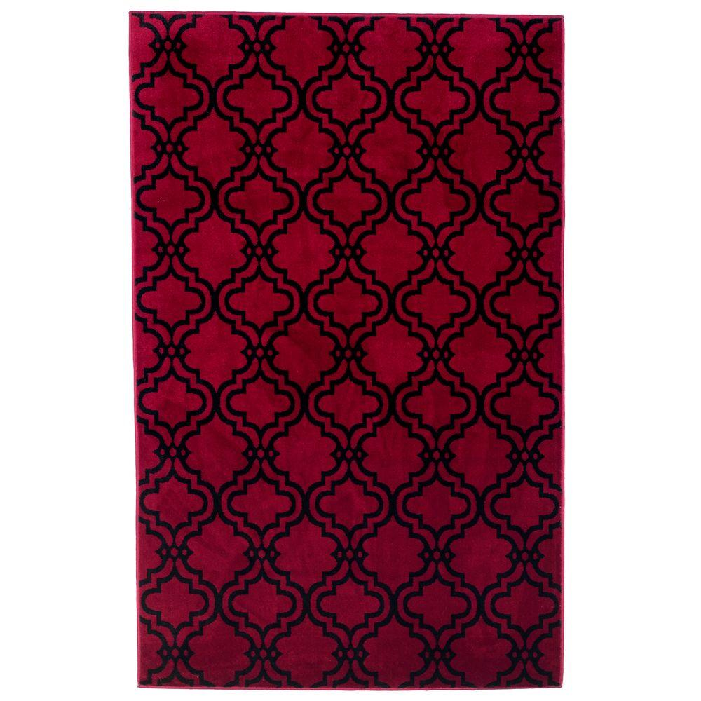 Double Lattice Red 4 ft. x 6 ft. Area Rug
