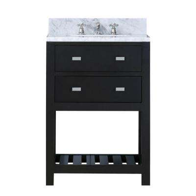 24 in. W x 21.5 in. D Vanity in Espresso with Marble Vanity Top in Carrara White and Chrome Faucet