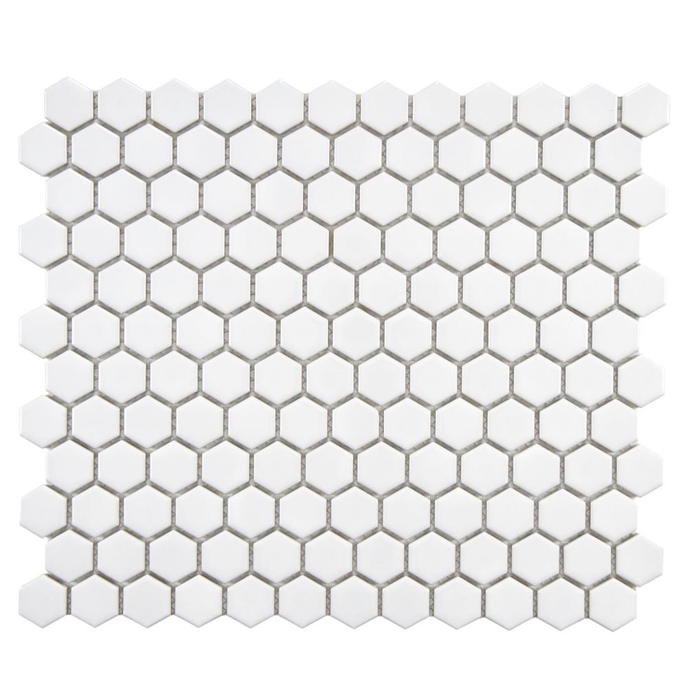 Merola Tile Metro Hex Glossy White 10-1/4 in. x 11-3/4 in. x 5 mm ...