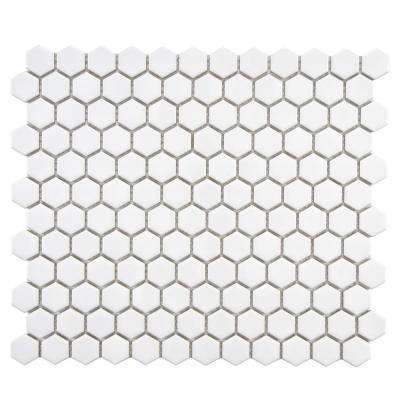 Metro Hex Glossy White 10-1/4 in. x 11-3/4 in. x 5 mm Porcelain Mosaic Tile (8.54 sq. ft. / case)
