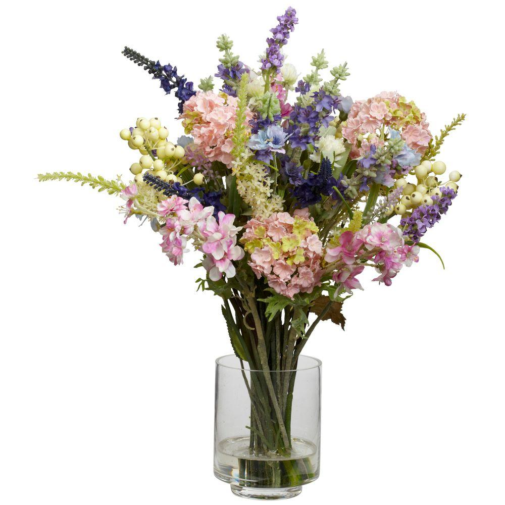 nearly natural 16 in h assorted lavender and hydrangea silk flower