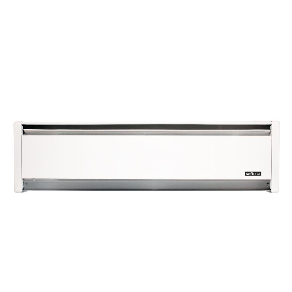 SoftHeat 59 in. 1,000-Watt 120-Volt Hydronic Electric Baseboard Heater in White