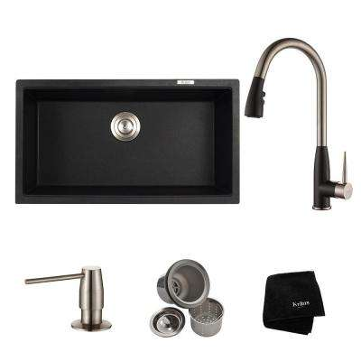 All-in-One Undermount Granite Composite 31 in. Single Kitchen Sink Bowl with Faucet in Stainless Steel and Black Onyx