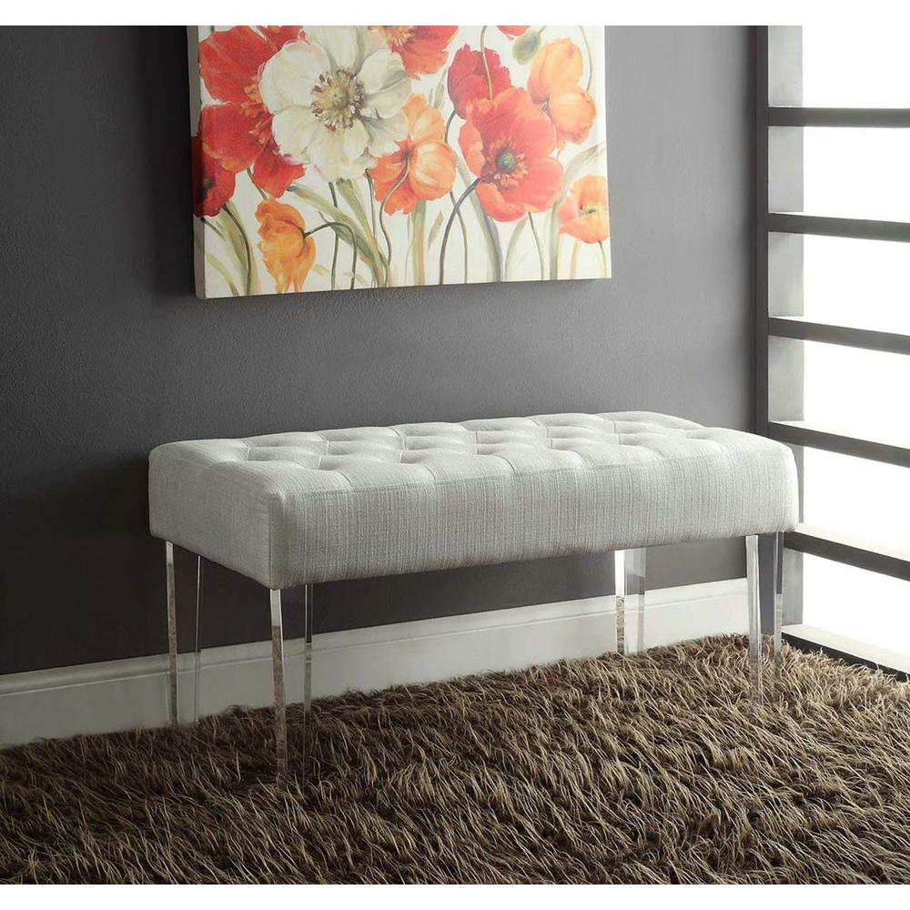 Linon Home Decor Ella White Glitz Bench-368261GLTZ01 - The Home Depot
