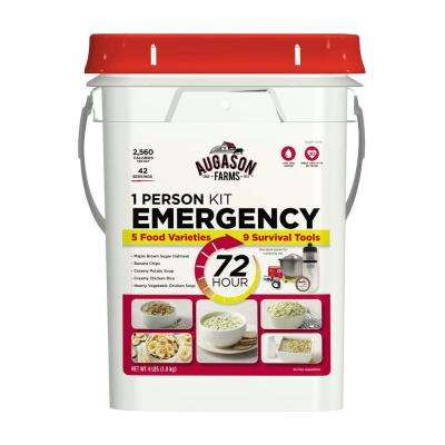 72-Hour 1-Person Emergency Food and Gear Supply Evacuation Pail 5 Food Varieties 25-Year Shelf Life