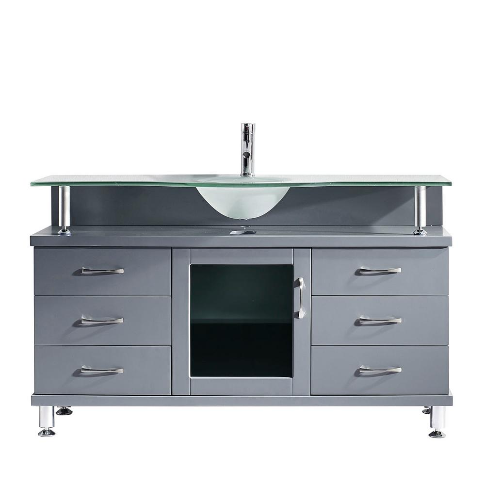 Virtu USA Vincente 56 in. W Bath Vanity in Gray with Glass Vanity Top in Frosted Green with Round Basin