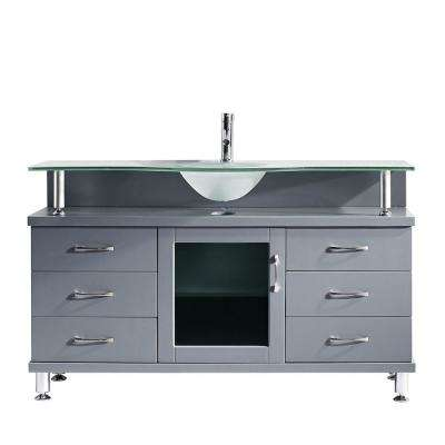 Vincente 56 in. W Bath Vanity in Gray with Glass Vanity Top in Frosted Green with Round Basin