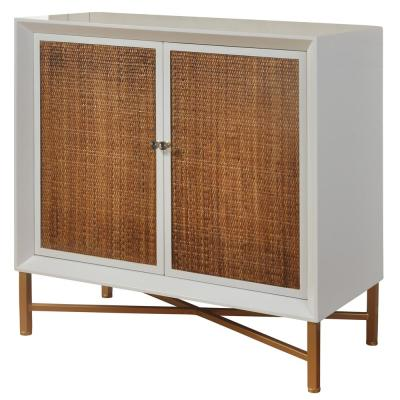 2-Drawer Antique Gold, White Gloss Lacquer and Natural Woven Cane Woven Door Cabinet