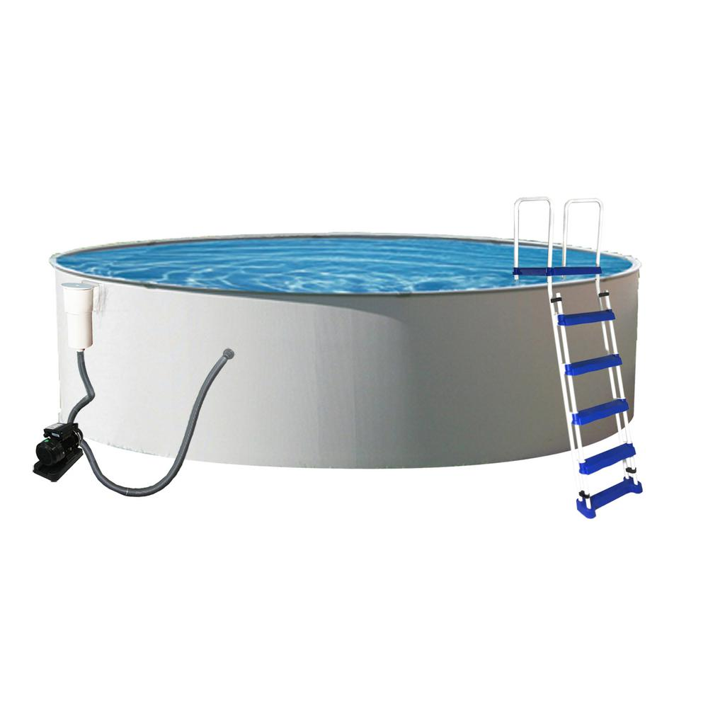 Blue Wave Presto 24 ft. Round x 48 in. Deep Metal Wall Above Ground Pool Package