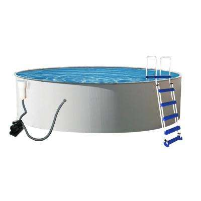 Presto 24 ft. Round 52 in. Deep Metal Wall Swimming Pool Package
