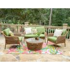 Terrell 4-Piece Wicker Seating Set with Green Cushions