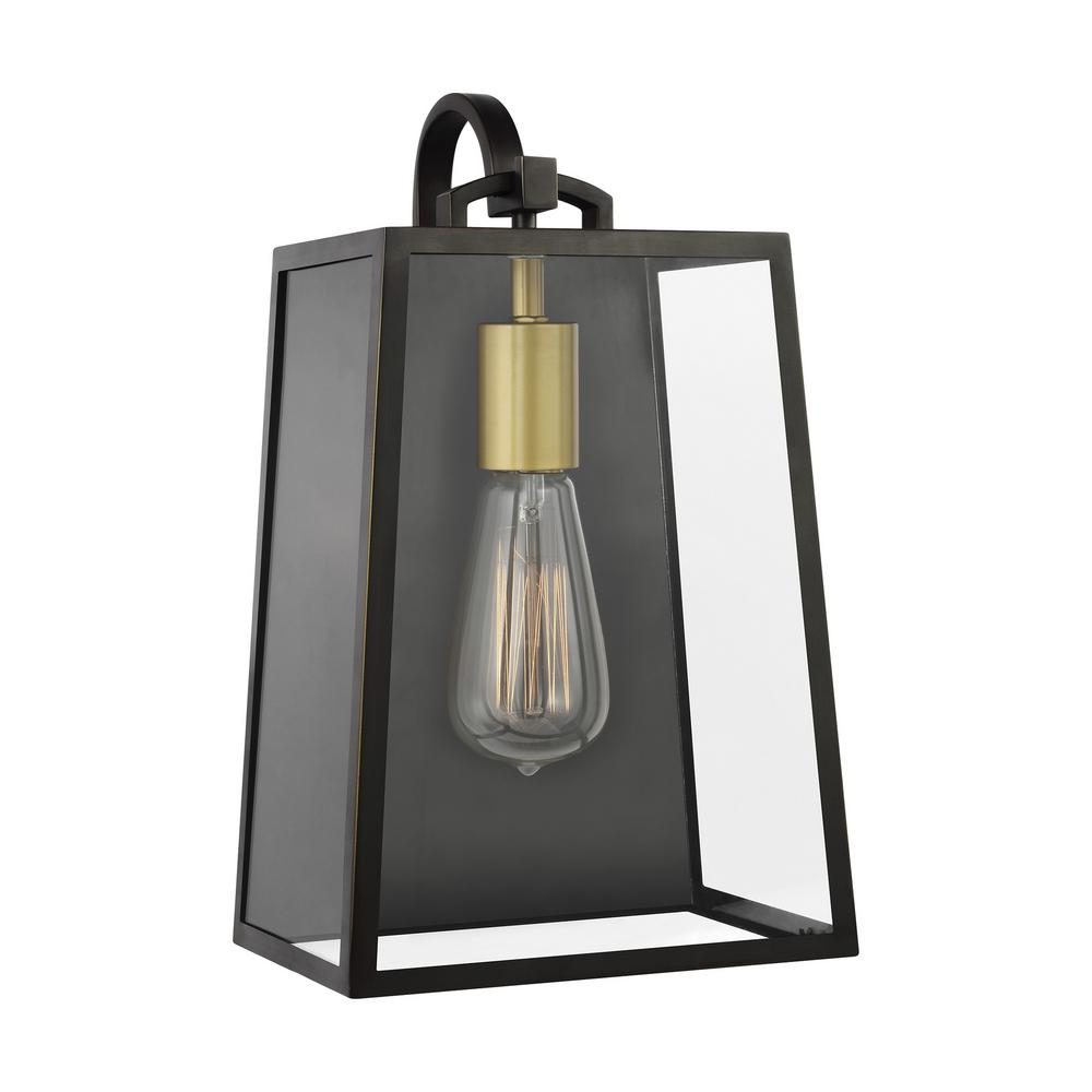 Feiss Lindbergh 13 in. 1-Light Antique Bronze Outdoor Wall Lantern Sconce