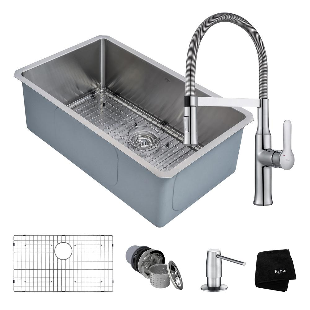 Kitchen Sink Kraus: KRAUS Handmade All-in-One Undermount Stainless Steel 30 In