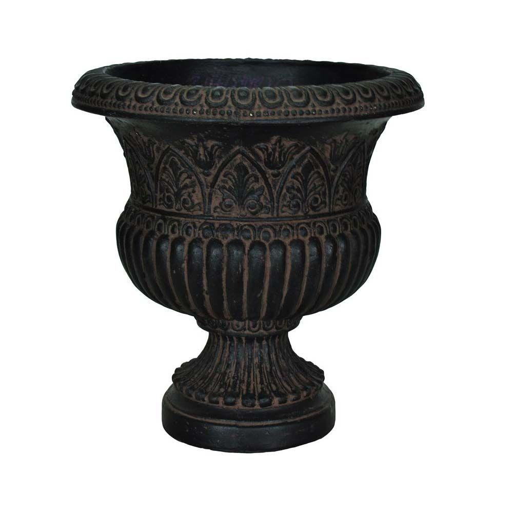 MPG 17-1/4 in. x 18 in. Cast Stone Faux Iron Urn in Aged Charcoal