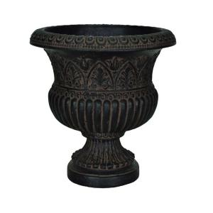 17-1/4 in. x 18 in. Cast Stone Faux Iron Urn in Aged Charcoal
